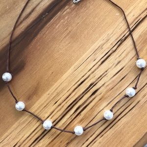 Pearl Beaded Brown Cord Necklace